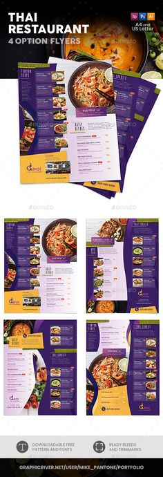 Buy Thai Restaurant Menu Flyers 5 – 4 Options by Mike_pantone on GraphicRiver. *Save with Bundle! Thai Restaurant Menu Bundle 5 is also available.Thai Restaurant Menu Flyers 5 – 4 Options Clean an. Menu Restaurant, Hotel Menu, Restaurant Logo Design, Restaurant Menu Template, Restaurant Identity, Menu Card Design, Food Menu Design, Flyer Design, Design Design