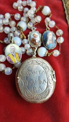 Spanish St. Barbara Reliquary Rosary with Enamel Medals Blessed Mother Mary Virgin Mary Saint Joseph Hand Painted Catholic Jewelry IHS by PinyolBoiVintage on Etsy