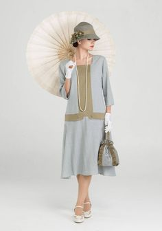 Great Gatsby linen dress in grey and olive with square neck & sleeves, high tea dress, Downton Abbey dress, flapper dress 1920s Fashion Dresses, 1920s Outfits, 1940s Fashion, Mode Outfits, Vintage Fashion, Flapper Dresses, 1920s Dress, Party Dresses, 20s Style Dresses