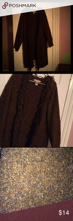 Long, brown coat💖✨ Very long, brown blazer/coat. Made of good material and is very cute over any outfit. Has sparkly fabric. Great condition.☺💐 c.l.o.t.h.e.s. Jackets & Coats