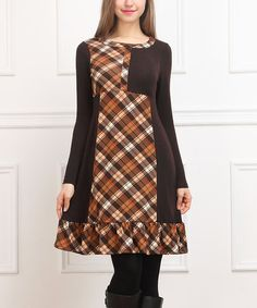 Loving this Brown Plaid Patchwork Shift Dress on #zulily! #zulilyfinds