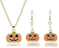 Halloween Pumpkin Necklace Earrings Set for Women,Dainty Smiling Face Pumpkin Pendent Necklace Orange Crystal Gold Dangle Earrings for Teen Girls