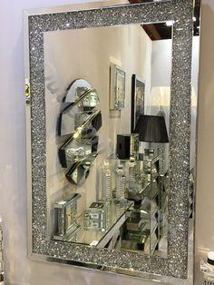 * New Diamond Crush Sparkle Wall Mirror 120cm x 80cm instock for fast deliv