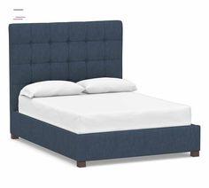 Tufted Bed, Wingback Headboard, Upholstered Platform Bed, Headboards For Beds, Indigo Furniture, Bed Furniture, Grey Velvet Bed, Tall Bed, Cushion Headboard