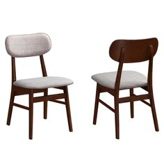Peony Mid-Century Design Chestnut Finished Upholstered Dining Chairs