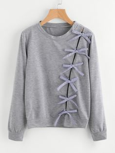 SheIn offers Bow Tie Detail Marled Sweatshirt & more to fit your fashionable needs. Hijab Fashion, Diy Fashion, Korean Fashion, Ideias Fashion, Fashion Outfits, Womens Fashion, Fashion Sale, Diy Pullover, Girl Outfits