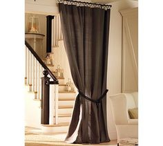 PBC Style: Gorgeous window treatment ideas. For our room in between great room and nook...Theater style privacy!