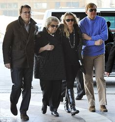 Family: (From left) Prince Johan Friso's brother Prince Constantijn, mother Queen Beatrix, wife Princess Mabel and brother Prince Willem Alexander arrive at the Innsbruck hospital in February