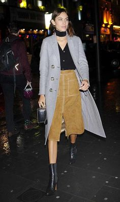 Alexa at LFW wearing a Marks and Spencer skirt