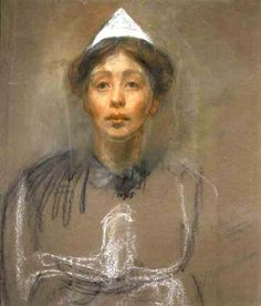 SELF-PORTRAIT IN PRISON DRESS By Sylvia Pankhurst, c. 1907; in pastel and charcoal. After doing time for suffragette militancy in Holloway women's prison (London) in 1907 when she was 25, Sylvia determined to expose the realities of prison life to the press Courtesy of Museum of London