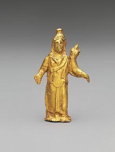 Gold statuette of Zeus Serapis  Period:     Mid-Imperial Date:     2nd century A.D. Culture:     Roman Medium:     Gold   2.9 cm.