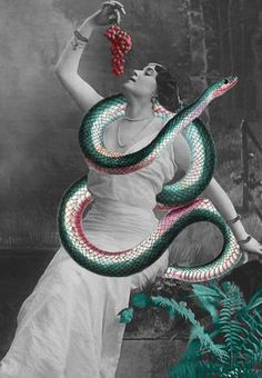 """thesingingcanary: """"Matthieu Bourel Lady of the Labyrinth / Snake Goddess """" Mixed Media Collage, Collage Art, Collage Ideas, Matthieu Bourel, Snake Goddess, Snake Drawing, Photocollage, Paper Embroidery, Illusion Art"""