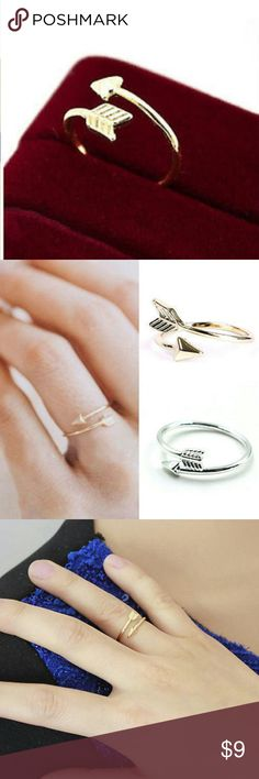 Gold Adjustable Arrow Ring NEW So Stylish and on Trend, Adjustable Gold Tone Arrow Ring. Fits Size 5-8. NEW. BUNDLE & SAVE. On Mercari for Cheaper. Jewelry Rings
