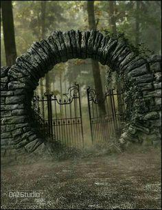 Interesting stone and iron work gate – Door Ideas Garden Gates, Garden Art, Moon Gate, The Secret Garden, Fence Gate, Arch Gate, Gate Design, Dream Garden, Entrance