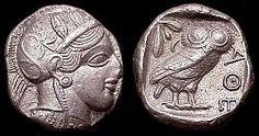 Tetradracma amb el perfil d'Atena i un mussol, c.449 a.C.