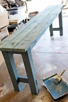 How to use watered down milk paint to get a beachy look on newly built DIY no-nails console table by Shabbyfufu featured on @Remodelaholic Pallet Furniture, Furniture Projects, Painted Furniture, Home Furniture, Furniture Design, Building Furniture, Primitive Furniture, Plywood Furniture, Cheap Furniture