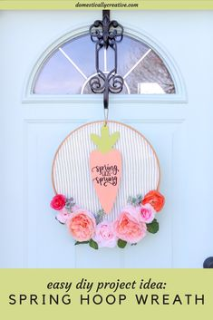 How sweet is this floral embroidery hoop wreath? Make this Spring wreath for your front door or for any space to brighten it up for Spring! Wreath Ideas, Diy Wreath, Wreaths, Dollar Store Crafts, Dollar Stores, Design Crafts, Diy Crafts, Wood Projects, Craft Projects