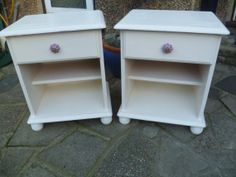 2 x Shabby Chic Pine Bedside Tables / Cabinets hand painted in Annie Sloan Original White Chalk Paint