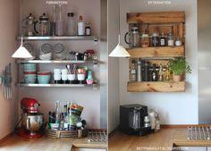 Før_og_efter_pallen_i_køkkenet #hylde af eu palle - hylde af paller