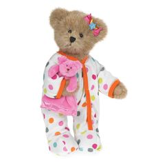 Boyds Bears Spring Goodfriends Plush - Chloe and Cuddles - Pajama Party Bear - Pink Nightgown, Boyds Bears, Teddy Bears, Bare Bears, Pajama Party, Cuddling, Plush, Pajamas, Toys