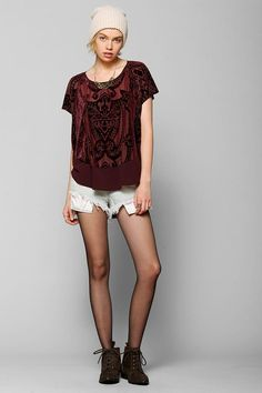 Ecote top with burnout velvet pattern at the front. #urbanoutfitters