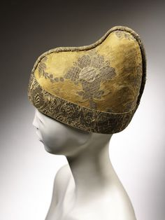 Venice, Italy - Corono Ducal (Hat) - Silk and metal. This hat is an example of the 'corno ducale', a ceremonial crown which was worn by the Doge over a cap of fine linen known as a camauro. These caps were hand-made by the nuns of the Convent o Doge Of Venice, 17th Century Clothing, Stephen Jones, Medieval Clothing, Medieval Hats, Headgear, European Fashion, Headdress, Retro