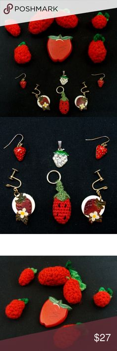 Vintage strawberry jewelry lot-pin earrings bundle Yum yum!! Vintage collection of strawberry jewelry more . Handmade leather screw on earrings , marked Opalite on screw on part ; enamel pierced earrings ; hand made painted wood pin ; rhinestone pendant ; small crochet handmade key fob and various handmade strawberry knitted accessories/adornments-repurpose into jewelry , hat accessories etc.. Nice lot . See my other strawberry items listed! j338 vintage Jewelry Earrings