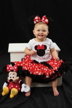 Minnie Mouse First Birthday Pettiskirt set