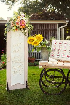 Welcome Sign from a First Birthday Garden Party via Kara's Party Ideas | KarasPartyIdeas.com (3)