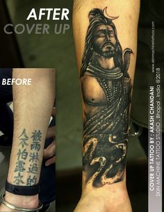 Again the breathtaking cover up tattoo by Akash Chandani @the_inkmann at Skin Machine Tattoo Studio Designed from One of my custom Lord Shiva Series. Thanks for looking :) Email for appointments: skinmachineteam@gmail.com www.skinmachinetattooz.com Hindu Tattoos, God Tattoos, Forearm Tattoos, Arm Band Tattoo, Body Art Tattoos, Mahadev Tattoo, Kali Tattoo, Indian Henna Designs, Shiva Tattoo Design