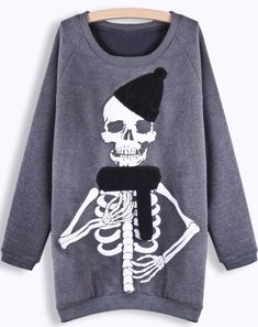 Grey Long Sleeve Skull Print Sweatshirt pictures