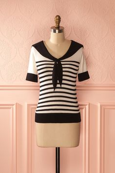 Ashleigh - Black and white stripes sailor collar top