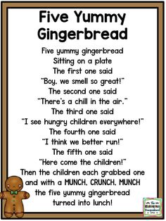 five yummy gingerbread man poem. Kindergarten Poems, Preschool Songs, Preschool Themes, Kids Songs, Gingerbread Man Song, Gingerbread Man Activities, Gingerbread Man Kindergarten, Christmas Poems, Preschool Christmas