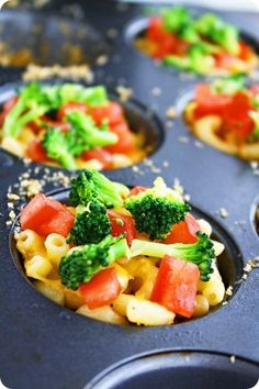 macaroni cups - toss pasta with cheese and top with veggies