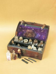 Leather medicine chest, c 1860.