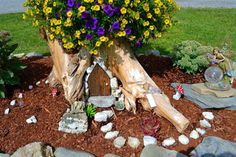 Wondering what to do with that old Tree Stump? Upcycle it into a fabulous Planter. You could even add a fairy door!
