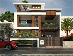 1600 square feet double floor modern home design with 3 bedrooms Layouts Casa, House Layouts, Front Elevation Designs, House Elevation, Building Elevation, Bungalow House Design, House Front Design, Minimalist House Design, Modern House Design