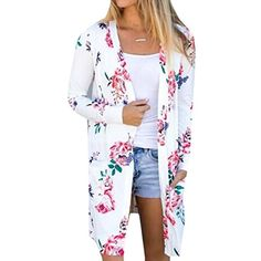 305a3ed6b4 online shopping for Aking Women Long Sleeve Floral Print Open Front Kimono  Cardigans Outwear from top store. See new offer for Aking Women Long Sleeve  ...