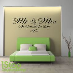 MR & MRS BEST FRIENDS FOR LIFE WALL STICKER QUOTE - BEDROOM WALL ART DECAL X196