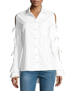 Pearly-Button Tie-Sleeve Oxford Shirt, White by Jonathan Simkhai at Bergdorf Goodman.