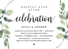 """Modern Eucalyptus, Wedding Elopement Celebration Invitation. Size: 5"""" x 7"""" Make custom invitations and announcements for every special occasion! Choose from twelve unique paper types, two printing options and six shape options to design a card that's perfect for you. Size: 5"""" x 7"""" (portrait) or 7"""" x 5"""" (landscape) Standard white envelope included Add photos and text to both sides of this flat card at no extra charge Use the """"Customize it!"""" Couples Wedding Shower Invitations, Custom Invitations, Invites, Wedding Card Design, Wedding Cards, Our Wedding, Colored Envelopes, White Envelopes, I Do Bbq"""