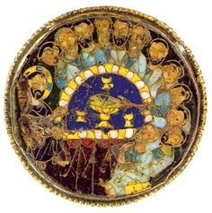 The Last Supper. Cloisonné enamel . This paten is a Byzantine work, made in Constantinople. A medallion of cloisonné enamel on gold at the center represents the Last Supper, and small plique enamel decorations are applied to the rim. The paten is typical of objects produced in workshops for the court of Constantinople in the late 9th and early 10th centuries. Thirteenth-century Crusaders probably took this piece from a palace or church in Constantinople.
