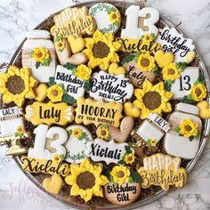 "JellyfurrBakes on Instagram: ""Sunflowers🌻 . • . Happy 13th Birthday Laly! 💛 . • . #FlowerChild #BeTheSunshine #SunflowerBirthday #SunflowerCookies #Happy13thBirthday…"" Happy 13th Birthday, Birthday Cookies, It's Your Birthday, Sunflower Cookies, Decorated Cookies, Cake Cookies, Sunflowers, Cookie Decorating, Cookie Cutters"