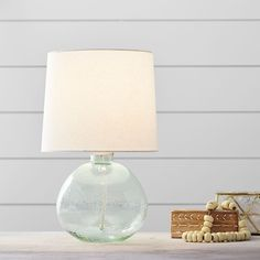 PB Teen Kaya Glass Table Lamp, Yuca ($99) ❤ liked on Polyvore featuring home, lighting, table lamps, light blue table lamp, glass lamps, modern glass table lamp, modern lamps and glass table lamps