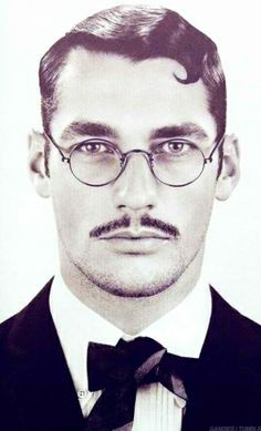 David Gandy, the 1920's Dandy with Moustache and Scruff.