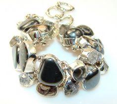 Beautiful Crinoid Fossil Sterling Silver Bracelet