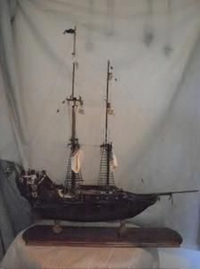 """Handmade Scratchbuilt Wooden Pirate Ship Model !!! Amazing Handmade/Scratchbuilt Pirate Sailing Ship ! Size - @32"""" Tall (with Base) @29"""" Long (with Base).  Handmade from Original Blueprints, Made from Basswood, Mahogany, Teak, Balsa, Pine and Walnut. Custom Cast Cannons, Linen Sails, Hemp Ratlines & Cotton Rigging. Even a large parrot ! We won't tell anyone you didn't build it !"""