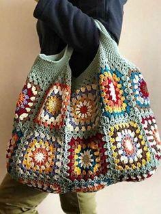 Crochet Market Bag, Crochet Tote, Crochet Purses, Crochet Crafts, Knit Crochet, Afghan Crochet, Crochet Blankets, Sac Granny Square, Point Granny Au Crochet