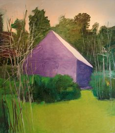 wolf kahn barn paintings | Purple Barn Head On, 2008, oil on canvas, 62 x 50 in.