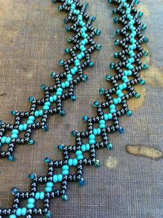 I should make this....Bead Weave Necklace. Statement Seed Bead Necklace. Net Weave Stitch. Gunmetal,Turquoise and Teal.